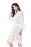 Cotton lace Robe white