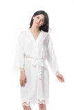 Cotton lace trim Robe white
