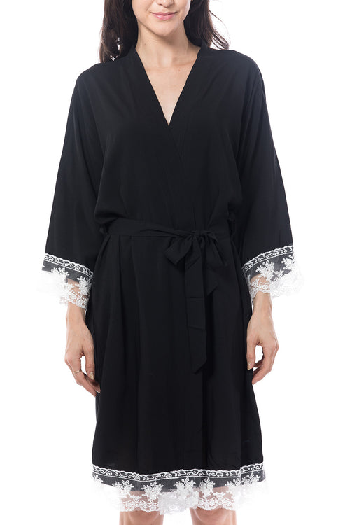 Black Cotton lace trim robe