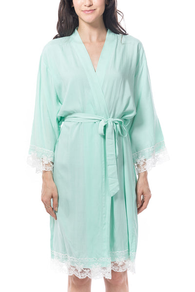 Mint Cotton Lace Robe