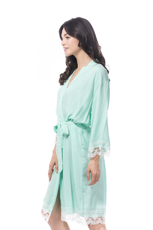 Cotton Lace Robe Mint