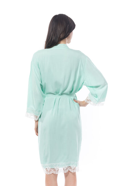 Cotton lace trim robe Mint