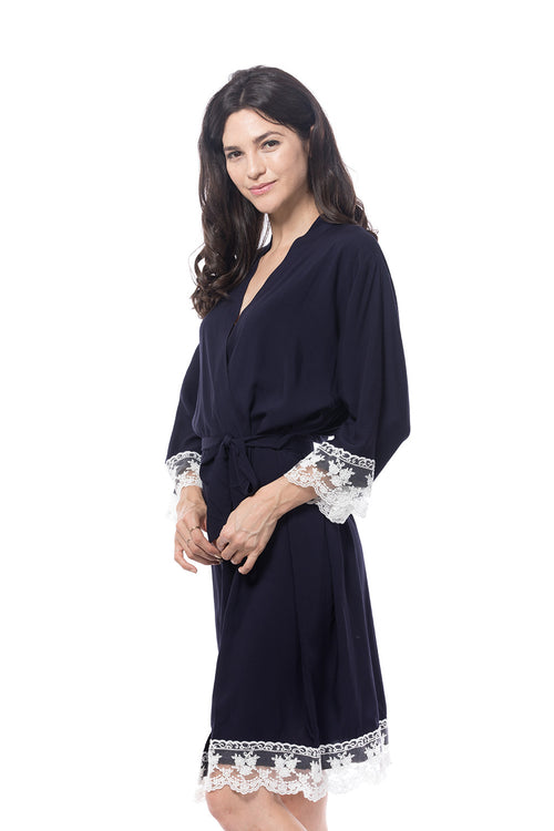 Cotton Lace Trim Robe Navy Blue