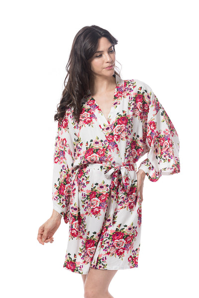 Cotton floral Blossom Robe white