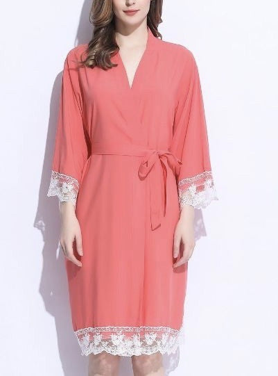 cotton lace trim robe coral