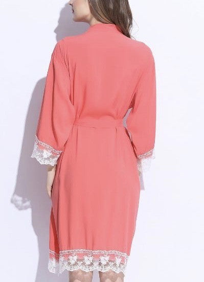 coral cotton lace trim robe