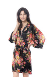 Black Satin Floral Robe