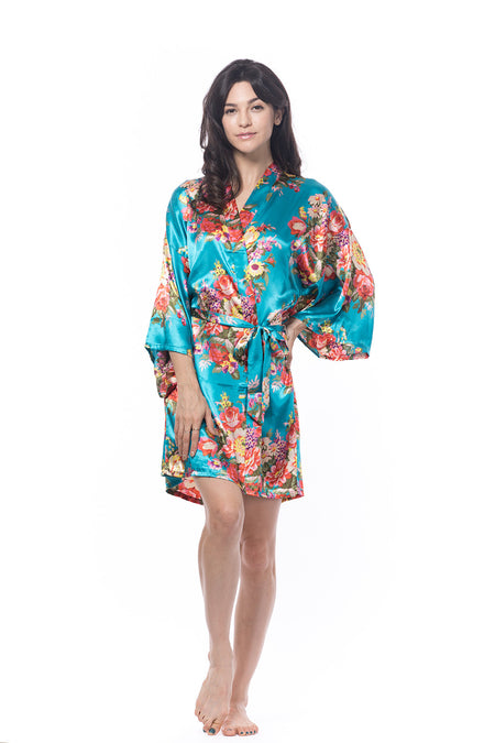 Satin Floral Blossom Robe Navy Blue