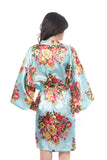 Satin Floral Blossom Robe Light Blue