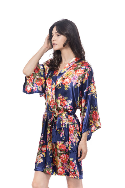 Satin Floral Robe Navy