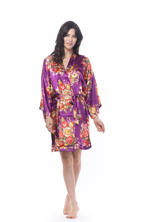 Satin Floral Blossom Robe Purple