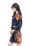 Satin Watercolor Rose Robe Navy