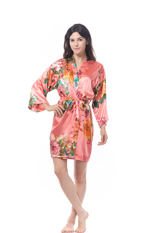 Coral Watercolor Rose Robe