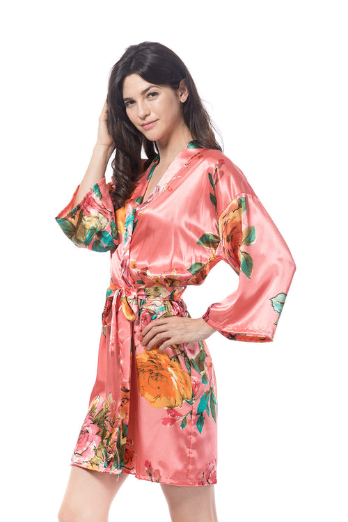 Watercolor Rose Robe Coral