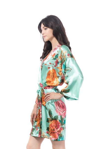 Watercolor Rose Robe Mint