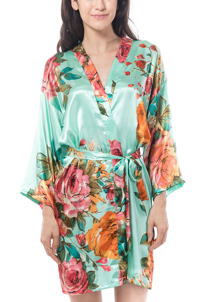 Mint Watercolor Rose Robe
