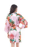 Satin Watercolor floral rose robe
