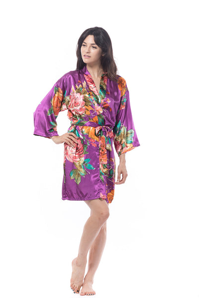 Watercolor Rose Robe Purple