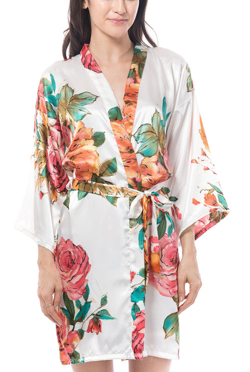 Satin floral watercolors robe white