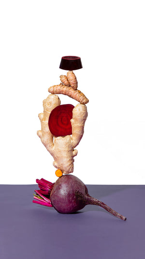 Load image into Gallery viewer, Ginger Turmeric Beet Shot Ingredients Turmeric Ginger Beets on White Elite Beet Root Rescue Wellness stack puck