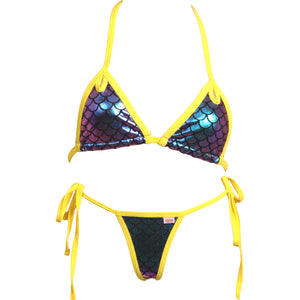 Cut Out Accent Scale Bikini Top and Scrunchy Butt Tie Side Panty