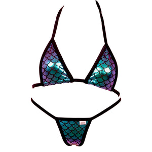 Micro Scale Triangle Bikini Top and Full Back Thong Panty