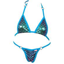 Micro Scale Bikini Top w/O-Rings and Scrunchy Front and Back Panty Accent