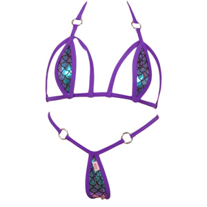 Caged Scale Micro Bikini Top w/O-Ring Accents and Micro Thong