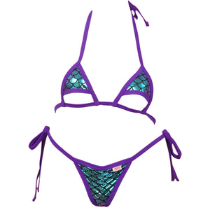 Micro Bikini Top w/Cut Out Bottom Accent and Scrunchy Front Tie Side G-String Panty
