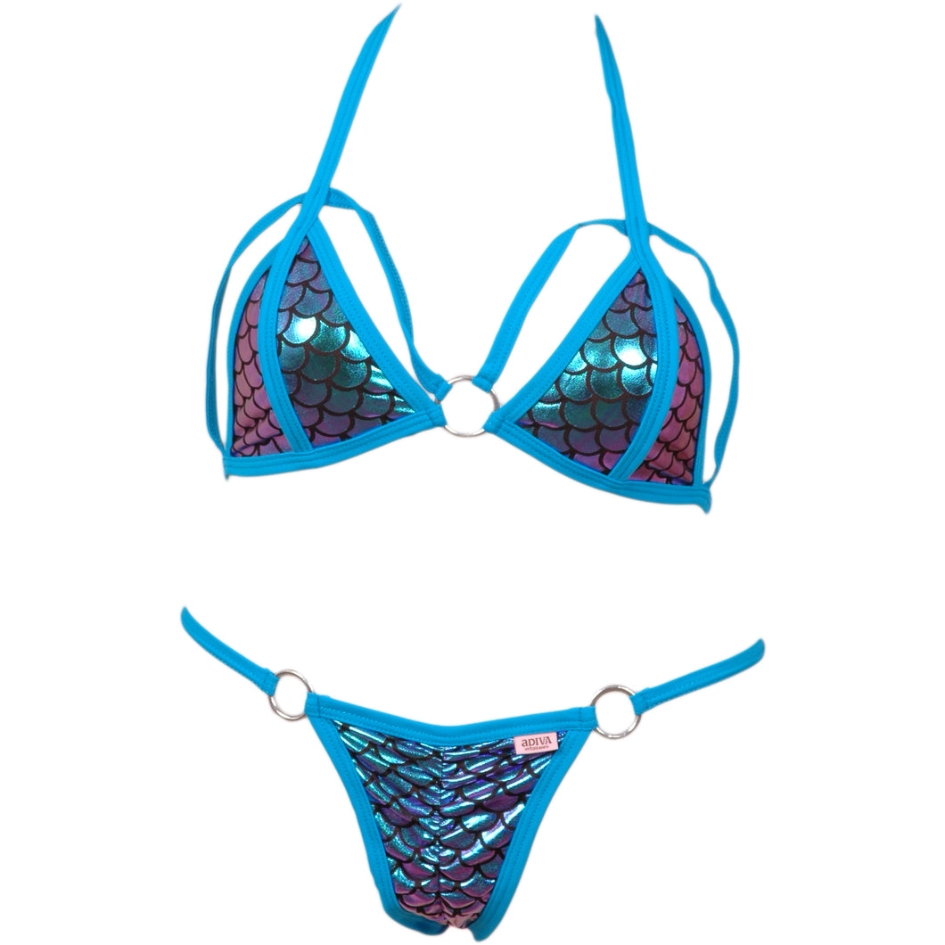 Cut Out Trimmed Accent Bikini Top w/Center O-Ring and Matching Scrunchy Front/Back Panty w/O-Ring Accents
