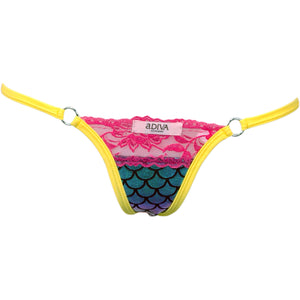 Scale Lamé w/Lace Top and O-Ring Accent Thong Panty