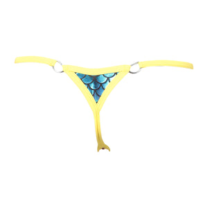 Scale Lamé Triangle Back Thong Panty w/ D-Ring Accents