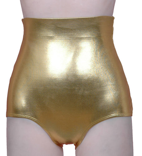 High Waist Lamé Dance Brief - Gold