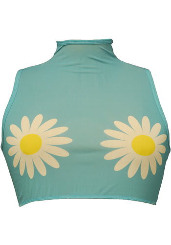 Daisy High Neck Mesh Crop Top With Zipper Back