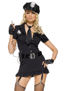Dirty Cop 6Pc:Dress Gloves Belt Hat Tie & Walkie Talkie