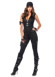 Sultry SWAT Officer 4Pc:Dress Gloves Arm Band Gater