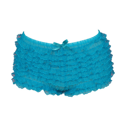 Neon Blue Ruffled Boyshort Underwear