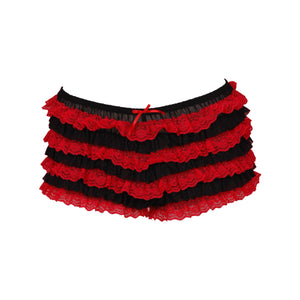 Black And Red Ruffled Boyshort Underwear