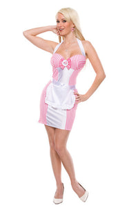 Hot Sexy Maid Waitress: 2Pc halter bodycon dress with pink stripes,includes white satin apron