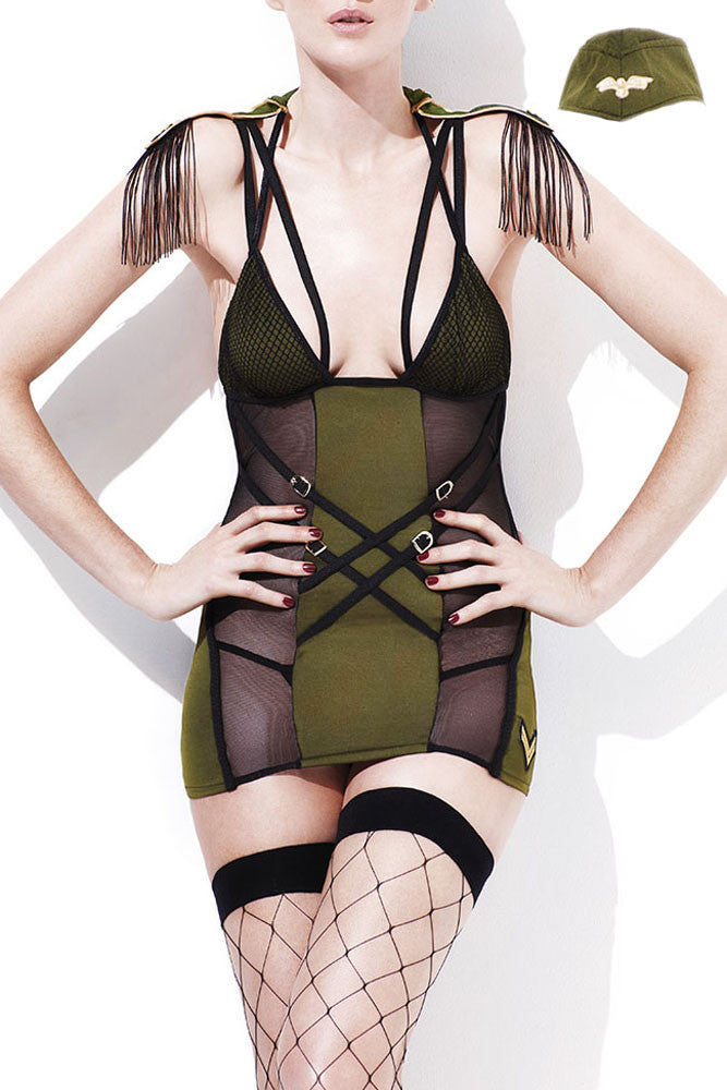 Fever Army Major; 3Pc Mesh Chemise W/Criss Cross Back & Fringed Shoulder Tassles, Hat & Thong