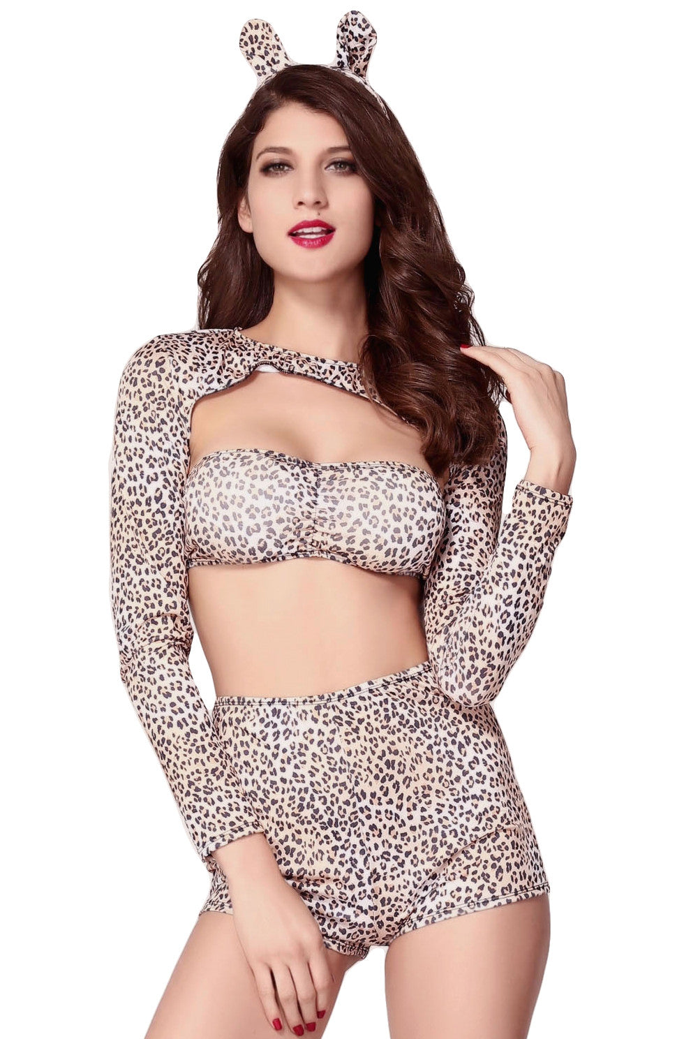 Sassy Cheetah; 3PC Lonbg Sleeve Top High Waist Bottoms & Ears