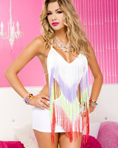 Fringed Halter Cut Out Mini Dress w/G-String