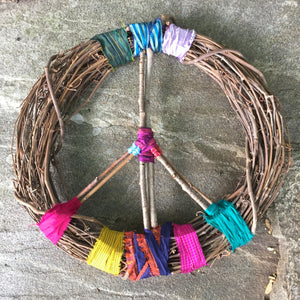 Peace Sign Wreath - Hippie Patchwork Wall Decor