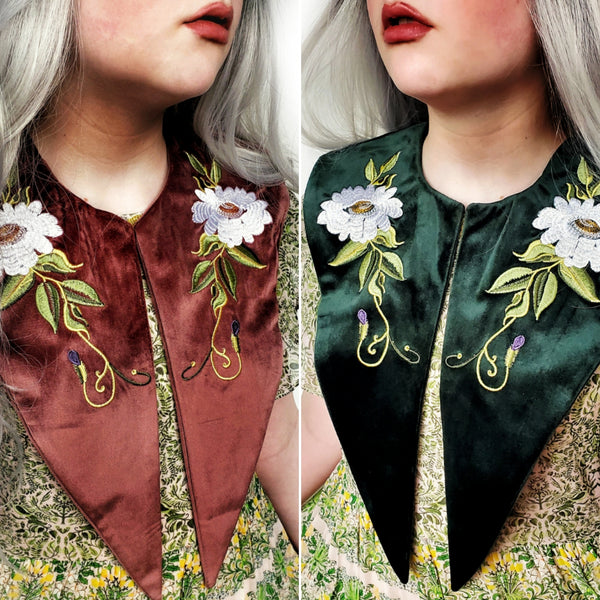 Embroidered Dagger Collars - Green & Mauve