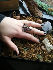~Witches Triangle Elemental Pentagram Ring of Protection ~ Woven Pewter Star & Triangle ~