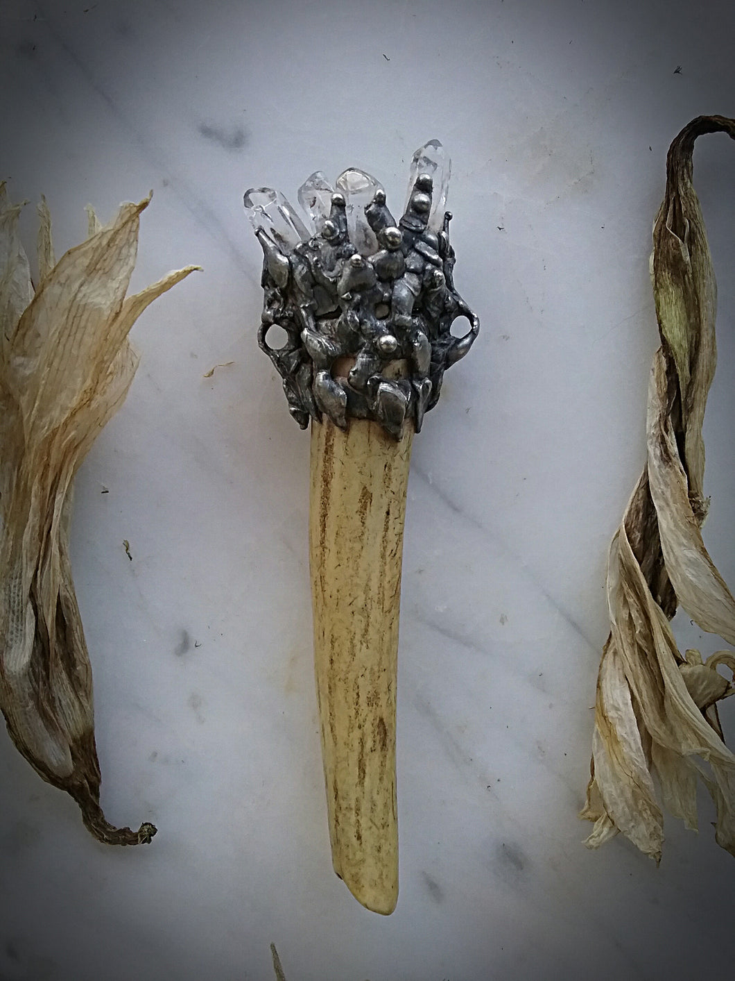 ~Light & Shadows Stag Talismans~Clear Quartz Crystals ~ Lineage ~ Stamina