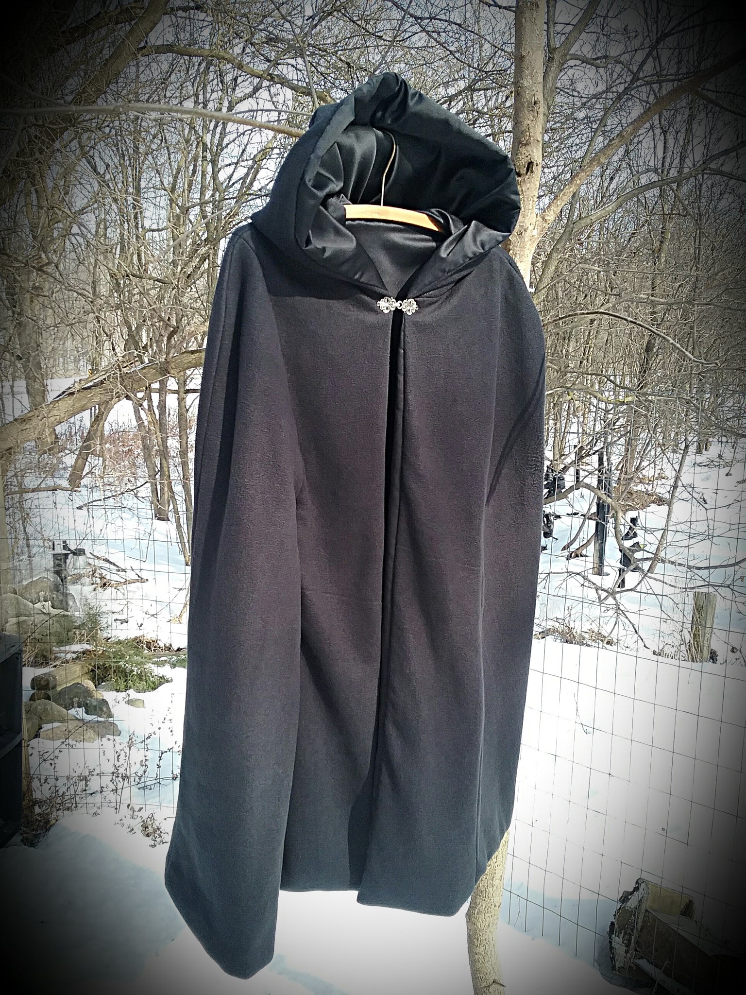 Black Cloak~Fleece & Satin Cloak ~ Handcrafted Cloak