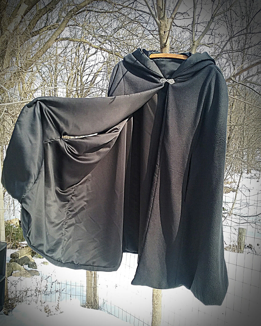 Black Cloak~ Fleece & Satin Cloak ~ Handcrafted Cloak