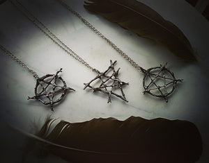 ~Witches Triangle Elemental Pentagram  of Protection ~ Woven Pewter Star & Triangle ~