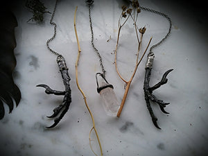 Mystical Magpie or Cunning Crow Spirit Pendulums with Onyx or Clear Quartz Crystal~